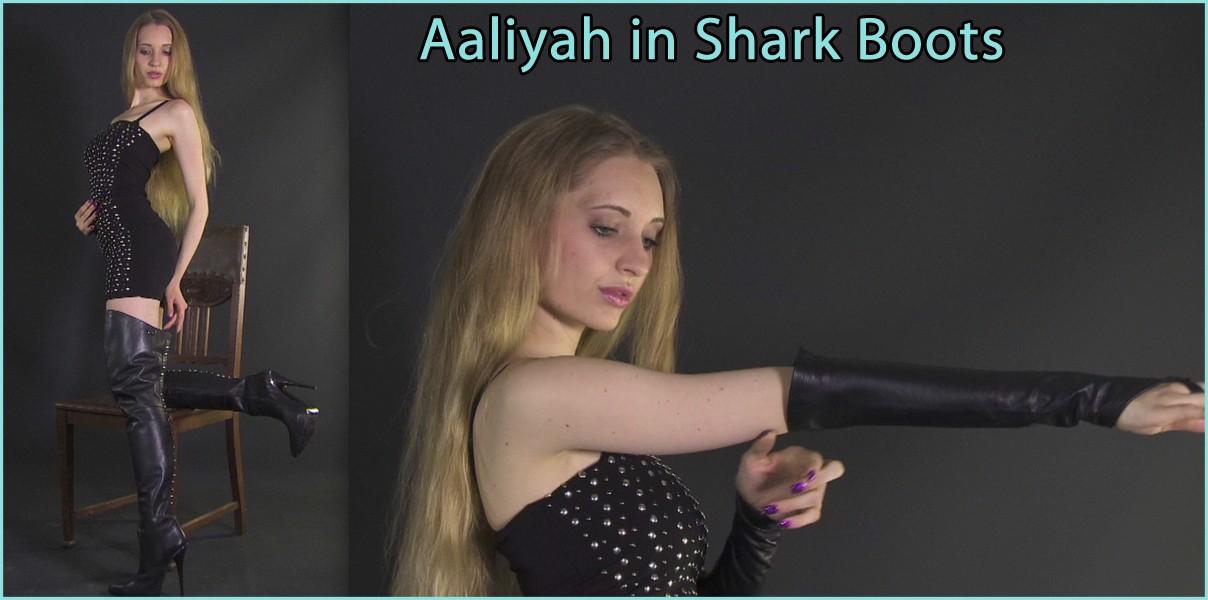 Aaliyah in shark boots