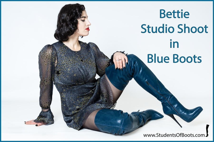 Bettie Studio Shoot in Blue Boots