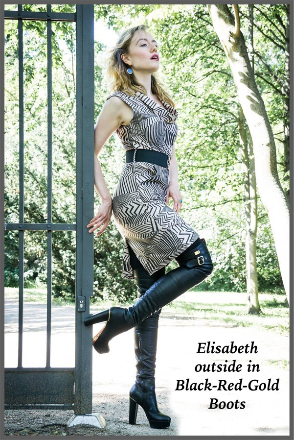 Elisabeth outside in Black Red Gold Boots