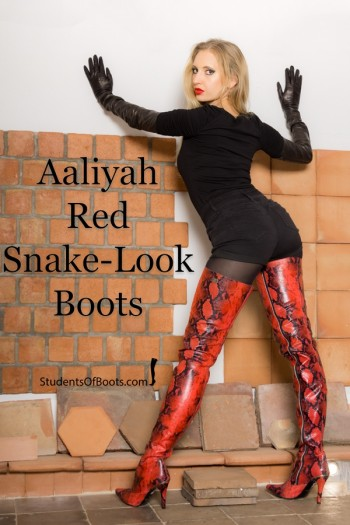 Aaliyah Red Snake-Look Boots