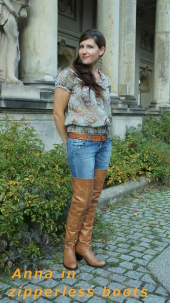 Anna in zipperless  boots
