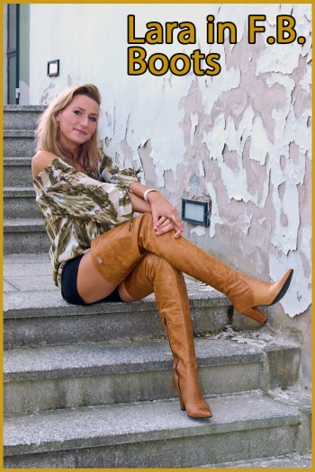 lara in brown crotchhigh boots