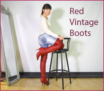 red vintage boots