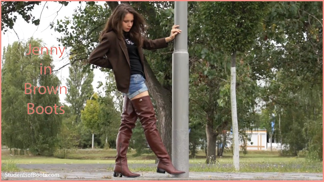 boots, brown, jenny, classic, overknee, crotchhigh, flat