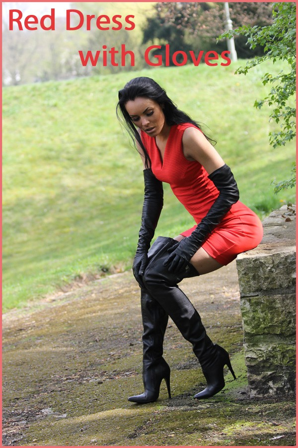 Red dress with gloves