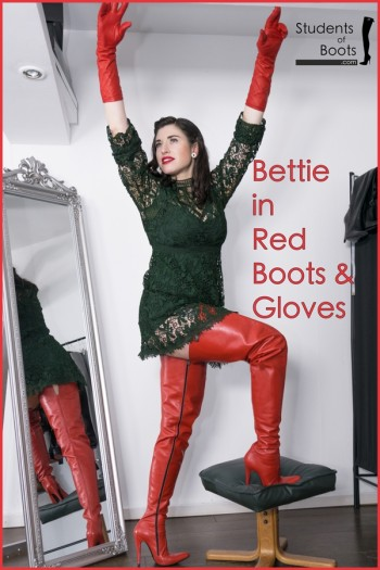 Bettie in red Boots and Gloves