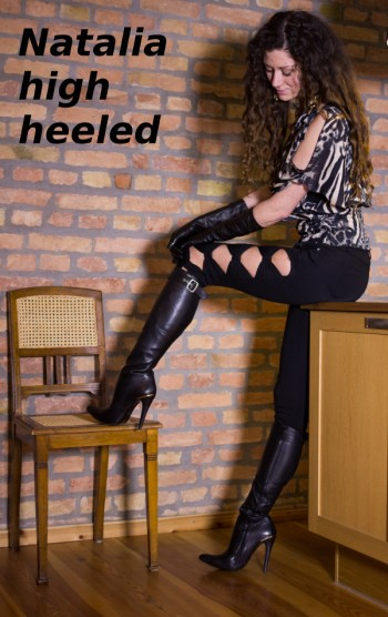 Natalia in leggins and high heel boots