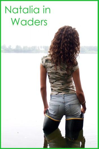 Natalia in green waders