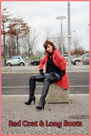 red coat & long boots