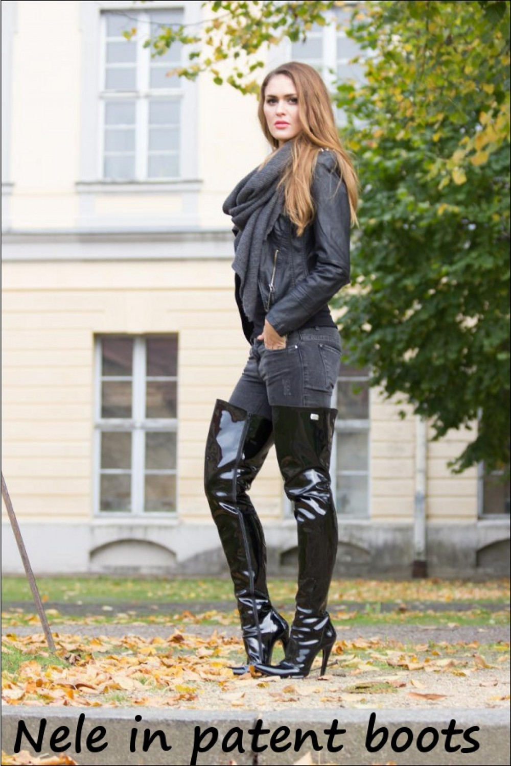 Patent Crotchhigh Boots, Jeans